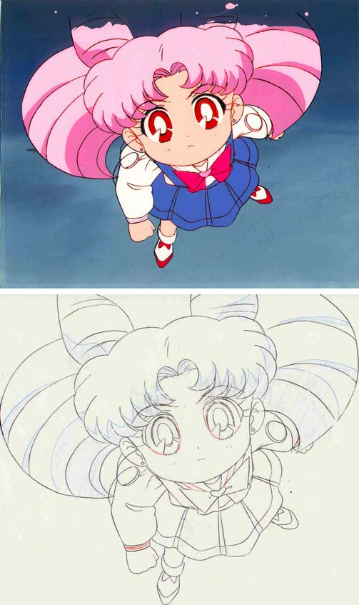 A cel and animation sketch of Chibiusa looking upwards