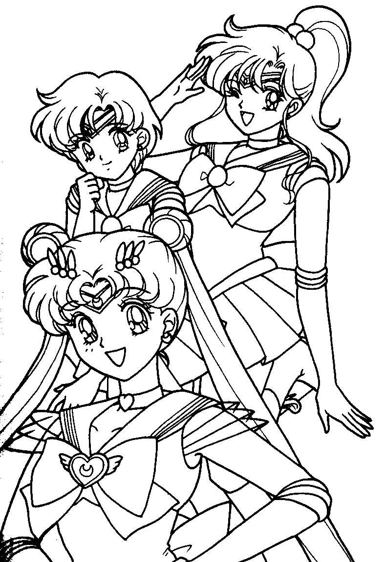 A B&W coloring book image of Super Sailormoon, Sailormercury, and Sailorjupiter