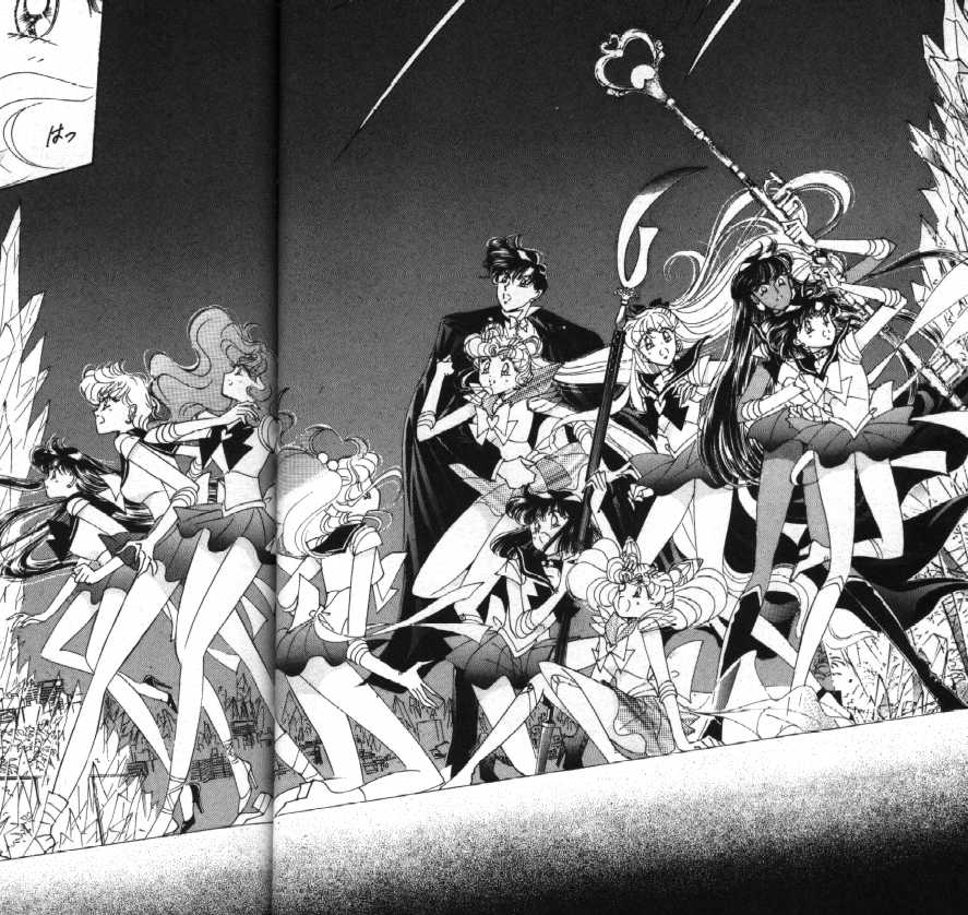 B&W Manga of all Senshi and Tuxedo Kamen