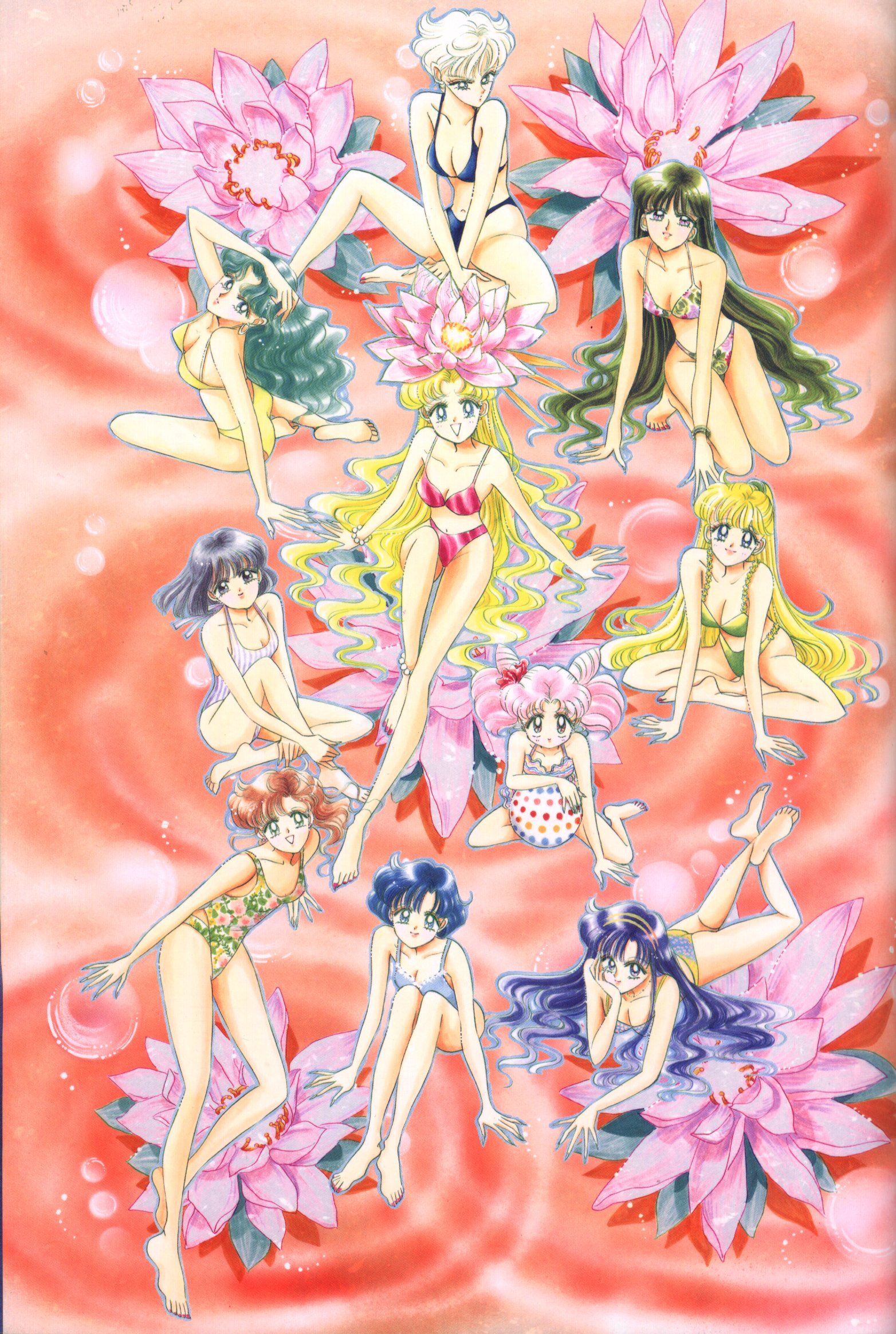 All of the manga Senshi wearing swimming suits