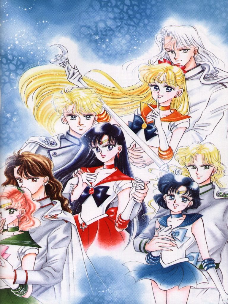 The manga inner Senshi with the Dark Kingdom Generals