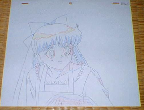 An animation sketch of Minako wearing an apron
