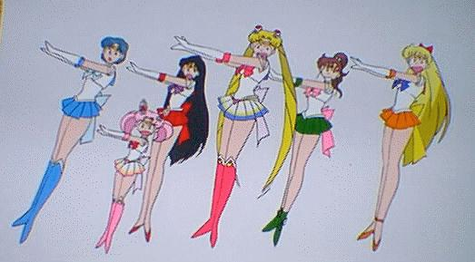 A cel of a bunch of strange faces on the Senshi
