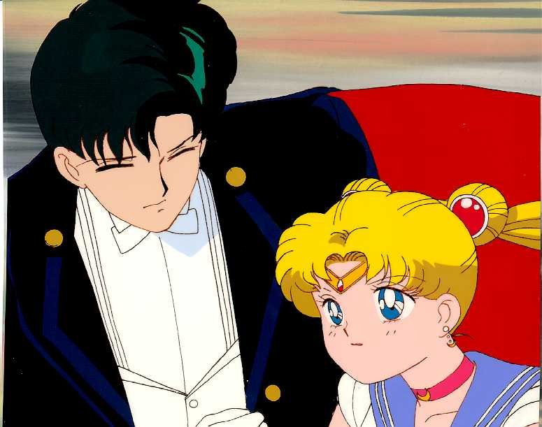 A cel of Tuxedo Kamen and Sailormoon beside each other