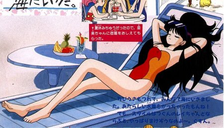 Rei in a swimsuit sunbathing with her hair spread around her