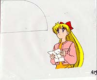 Cel of Minako holding a paper looking up.