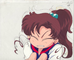 A cel of Makoto making a silly face