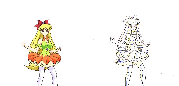 A cel and animation sketch of Minako wearing a hideously tacky outfit