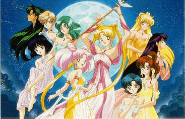 A picture of all the senshi dressed in colorful, flowing robes