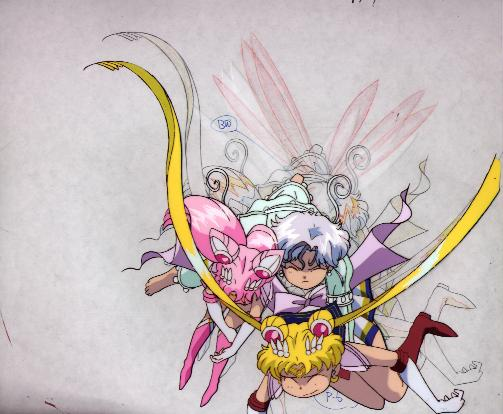 A cel of Super Sailorchibimoon, Peruru, and Super Sailormoon falling