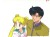 A cel of Usagi and Mamoru looking surprised
