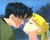 A cel of Mamoru and Usagi about to kiss