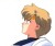 Cel of Sailor Uranus concentrating and sweating, looking up